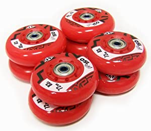HYPER OUTDOOR HOCKEY WHEELS HiLo 72mm 80mm WITH BEARINGS Inline Skate by Hyber Wheels