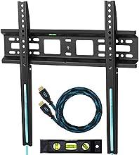 """Cheetah Mounts APFMSB Soporte de Pared Fijo y Ultra Delgado para Televisores y Pantallas LED, LCD y Plasma TV de 20-55"""" (51-140 CM) Max Vesa 400x400 Máximo 52 KG (Distancia de la Pared: 2.5 CM), con un Twisted Veins (3 M) Resistente Cable HDMI con Ethernet y un Nivel Magnético con 3 Burbujas de 15 CM"""