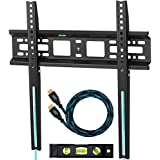 "Cheetah Mounts APFMSB Flush 1"" From Wall Flat Screen TV Wall Mount Bracket for 20-55"" Plasma, LED, and LCD TVs Up To VESA 420x400 and 115 lbs. Includes a Twisted Veins 10' Braided HDMI Cable and 6"" 3-Axis Magnetic Bubble Level"