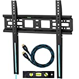 """Cheetah Mounts APFMSB Flush 1"""" From Wall Flat Screen TV Wall Mount Bracket for 20-55"""" Plasma, LED, and LCD TVs Up To VESA 420x400 and 115 lbs. Includes a Twisted Veins 10 Braided HDMI Cable and 6"""" 3-Axis Magnetic Bubble Level"""