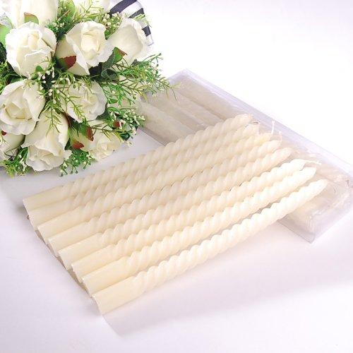 Artwedding Swirled Tapered Candle(set of 8),white