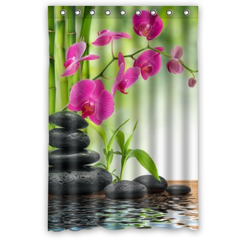 Unique Design Size 48(W)x72(H)-Inch Flower Bamboo Plant and Stones over a Lake Waterproof Shower Curtain