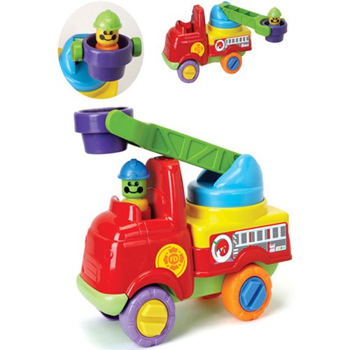 Push Along Fire Engine w/ Turning Ladder & Firefighters Toddler Toy 18m by Fun Time