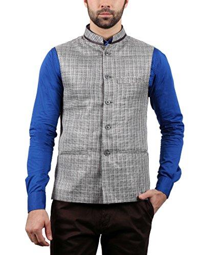 SOLEMIO Men Poly Cotton Ethnic Jackets (A15JK5500ESLV_M_SLV_Medium)