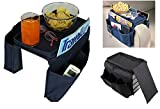 KRIO Designs Sofa Seat Arm Rest 6 Pocket Organizer with 2 Free Trays for Tea Coffee Mugs Pens Papers toys Navy Blue Color