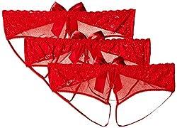 Escante Women's Plus-Size Bow Open Panty 3 Pack, Red, Plus Size