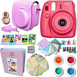 FujiFilm Instax Mini 8 Camera RASPBERRY + Accessories KIT for Fujifilm Instax Mini 8 Camera includes: Custom Mini 8 Case w/ Strap + Assorted Frames + Photo Album + Color Filters + Selfie Mirror +MORE