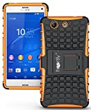 Heartly Flip Kick Stand Spider Hard Dual Rugged Armor Hybrid Bumper Back Case Cover For Sony Xperia Z3 Compact Mini - Mobile Orange