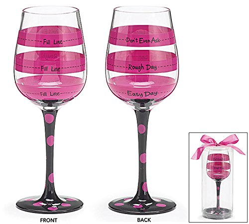 Hot Pink and Black Polka Dot Stem Funny Wine Glass