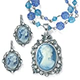 Simulated Cameo and Simulated Pearl Accent Silvertone Antique Finish 2-Piece Cameo Jewelry Set