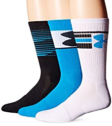Under Armour Men\'s Phenom Crew Socks (3 Pack), Electric Blue/Assorted, Medium