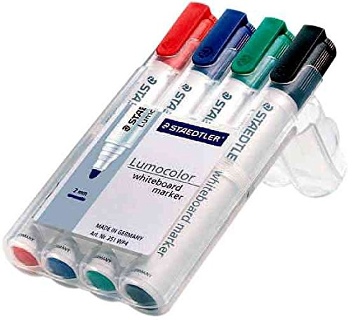 STAEDTLER étui de 4 marqueurs tableau blanc Lumocolor 351B