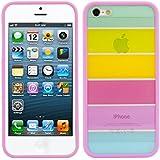 kwmobile Hülle TPU Silikon Case mit Bumper für Apple iPhone 5 / 5S mit Regenbogen Design - Handy Cover Schutzhülle in Mehrfarbig