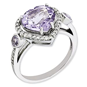 Genuine IceCarats Designer Jewelry Gift Size 7.00 Sterling Silver Diamond & Pink Amethyst Ring In Sterling Silver.