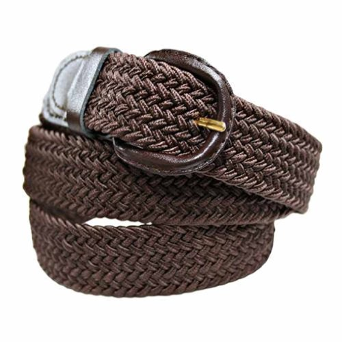 Luxury Divas Brown Braided Elastic Stretch Belt Size Large