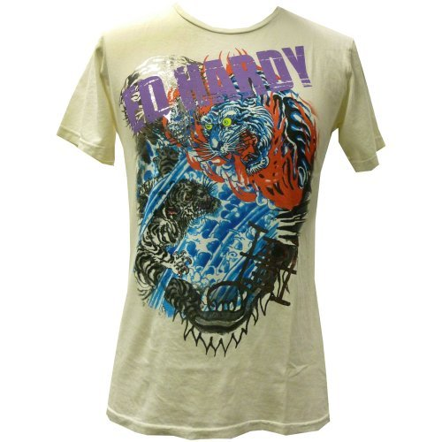 Ed Hardy Mens Specialty Flaming Tiger T-Shirt- Off White - Large