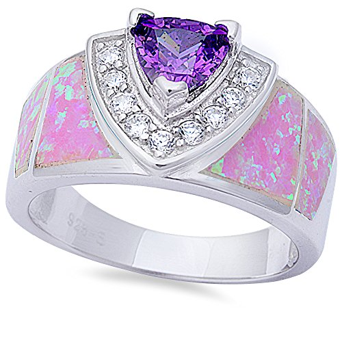 Simulated Amethyst, Lab Created Pink Opal, & Cz New Fashion .925 Sterling Silver Ring Size 9
