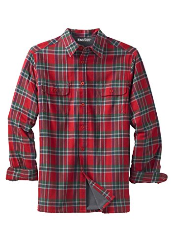 Kingsize Men's Big & Tall Fleece-Lined Flannel Shirt Jacket, Red Plaid Big-2Xl