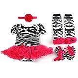 ETSYG® 4pcs Newborn Infant Baby Girl's Headband +Romper +Leg Warmer +Shoes Outfit (S)