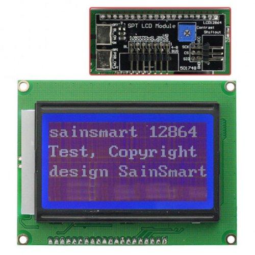 Sainsmart 12864 128X64 Graphic Blue Lcd Display Module Backlight For Arduino Uno R3 Duemilanove Mega2560 Mega1280 Avr