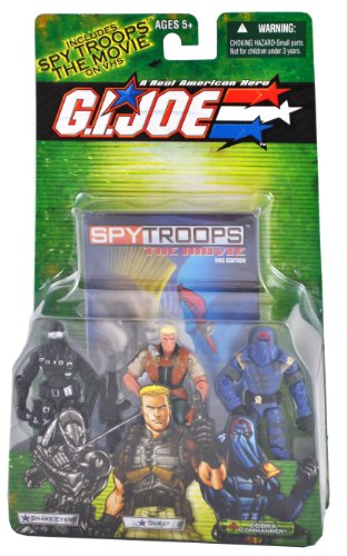 Buy Low Price Hasbro GI Joe Year 2003 A Real American Hero Series 3 Pack 4 Inch Tall Soldier Action Figure Set – SNAKE EYES, DUKE and COBRA COMMANDER with Assault Rifle Plus Bonus Spy Troops The Movie on VHS (B003ZUORDS)