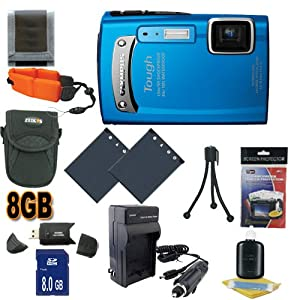 Olympus TG-310 14 MP Digital Camera (Blue) (228050) 8GB SDHC Super Accessory Saver Kit