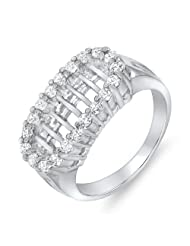 Mahi CZ Collection White Rhodium Plated CZ Stones Finger Ring For Woman - B00GIGYMO0