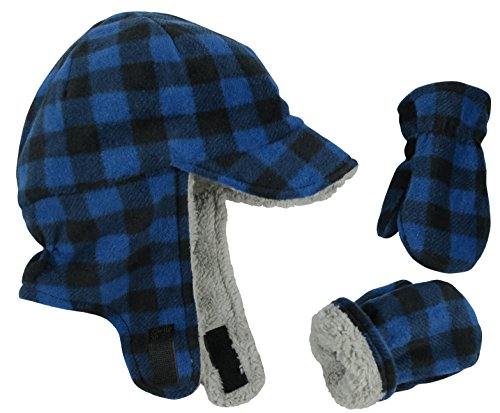 N'Ice Caps Little Boys and Baby Sherpa Lined Fleece Flap Hat Mitten Winter Set (4-6 Years, Royal Buffalo Plaid)