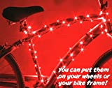 Super Cool Red LED Bike Wheel & Frame Lights - Brighten Your Bicycle Rims, Spokes or Tubes for Safety, Fun & Style - Fast Easy Install - Batteries Included - 100% Money-Back Guarantee