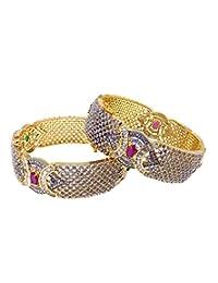 Aabhushan Jewels Ruby & Emerald Look Gold Plated American Diamond Bangles For Women - B00WUE807E