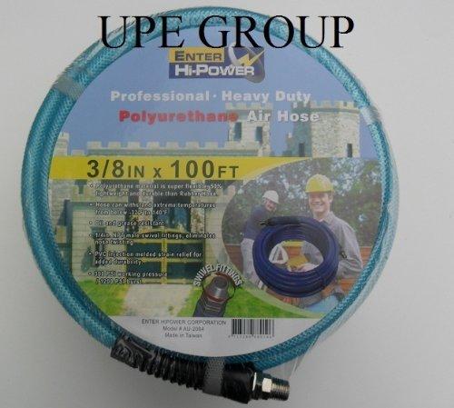 "3/8"" X 100 Ft Air Compressor Hose Polyurethane 300 Psi 1/4"" Fittings Air Tool Roofer Nail Gun"