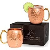 Moscow Mule Copper Mugs Gift Set of 2 by KoolBrew, Highest Quality 100% Pure Solid Copper Cups, Unlined, Brass Handle with Thumb Rest, for Cocktails Beer and Icy Cold Beverages