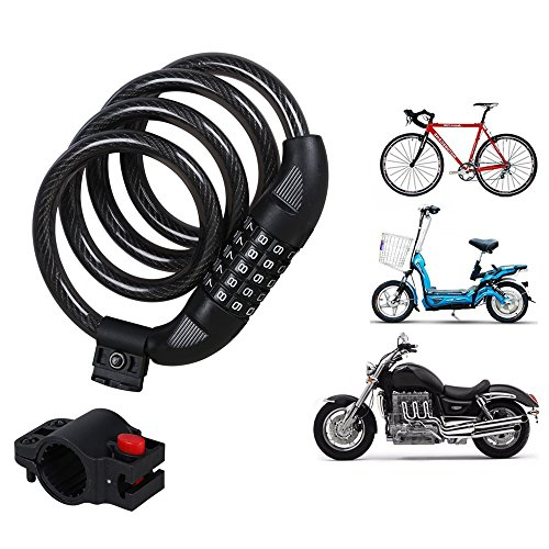 G4Free Bike Lock Cable, 5-digit Combination Security Bike Cable Basic Self Coiling Resettable Combination Cable Bike Locks with Complimentary Mounting Bracket, 4 Feet x 1/2 Inch