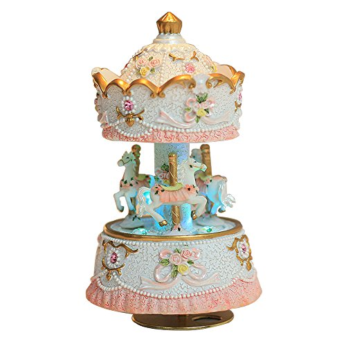Laxury Clockwork Mechanism 3-horse Carousel Music Box with LED lights Melody Carrying You from Castle in the Sky(Laputa) (White+LED)
