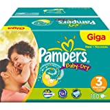 Pampers Baby-Dry Size 3 Midi Nappies - Giga Pack of 180 Nappies