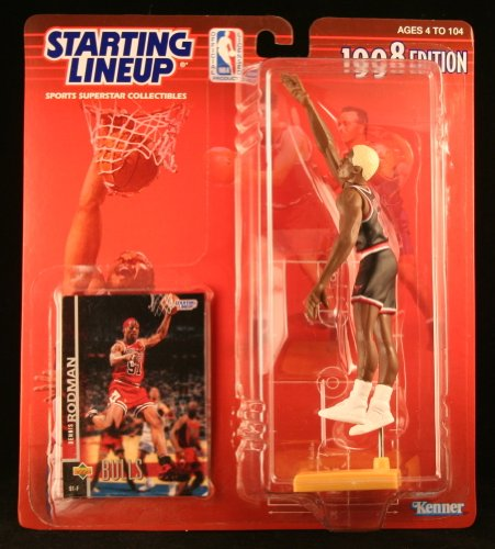 DENNIS RODMAN / CHICAGO BULLS 1998 NBA Starting Lineup Action Figure & Exclusive NBA Collector Trading Card