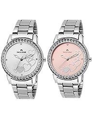 Swisstone HART236-SLV-CH & HART236-PNK-CH Analog Wrist Watch Combo For Women/Girls