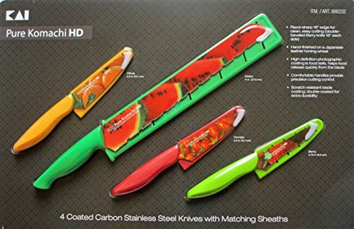 Pure Komachi HD 4 Coated Carbon Stainless Steel Knives with Matching Sheaths (Melon, Citrus, Tomato, and Berry) (Carbon Coated Knife compare prices)
