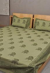 Rajrang Green Cotton Hand Block Printed Bedsheet Set Of 3 Pcs #Bst01293