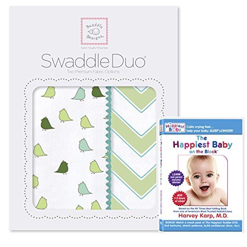 SwaddleDesigns SwaddleDuo 2pack Plus The Happiest Baby DVD Bundle, Chic Chevron Duo, Yellow