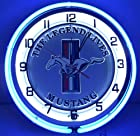 Ford Mustang The Legend Lives Pony & Bar Logo 18 Double Neon Lighted Clock Sign Emblem Garage Silver Blue