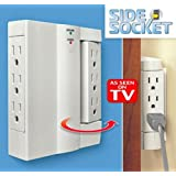 Side Socket 6 Outlet Surge Protector Swivel Wall Power Strip As Seen on Tv