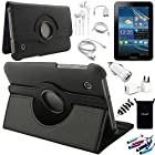AceNear Accessory Bundle For ASUS Transformer Pad TF300 10.1-Inch Tablet - New 360 Degress Rotating Stand Leather Folio Case Cover , Headset Dust Plug Capacitive Stylus, Screen Protector, USB Cable, Charger, Earphone, bag, Car Charger Adapter - black
