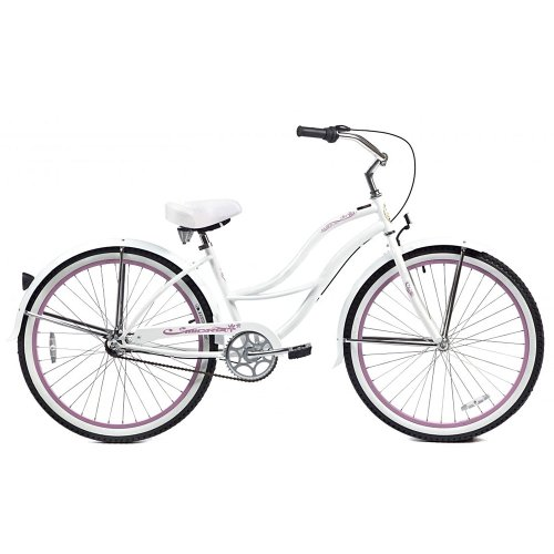 Micargi Tahiti NX3 Beach Cruiser Bike, White, 26-Inch