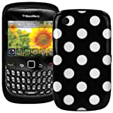 Polka Dot XYLO-GEL Skin / Case / Cover for your BlackBerry Curve Mobile Phone (Curve 8520 / 9300 3G, Black With White Polka Dots)