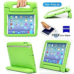 iPad 5, iPad Air Case- Kids Light Weight Kido Series Multi Function Convertible Handle Kickstand Kids Friendly Protective Shockproof Cover Case with Stand & Handle for Apple iPad Air (Green)
