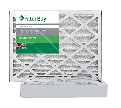 AFB Silver MERV 8 14x20x4 Pleated AC Furnace Air Filter. Pack of 2 Filters. 100% produced in the USA.