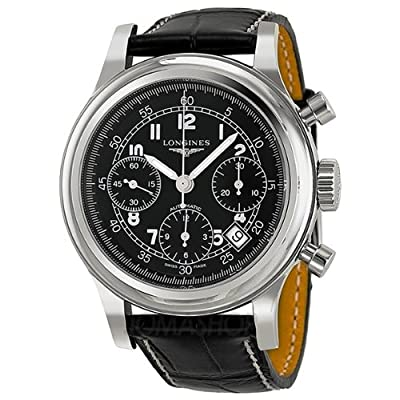 Longines Heritage Chronograph Black Dial Black Leather Mens Watch L27454534