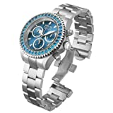 Invicta Pro Diver Unisex Swiss Quartz Movement Watch with Blue Dial Chronograph Display and Silver Stainless Steel Bracelet 14447
