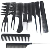 TRIXES Set de 10 peignes de coiffeur en plastique